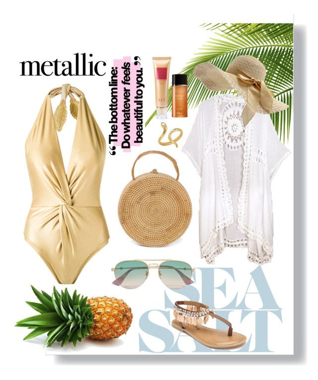 """""""You're Golden : Metallic Swimswear"""" by devarahma on Polyvore featuring Martha Medeiros, Do Everything In Love, Penny Loves Kenny, Gucci and Madina Visconti di Modrone"""