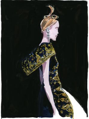This Jean-Philippe Delhomme illustration of an Alexander McQueen creation almost has a Matisse quality about it...