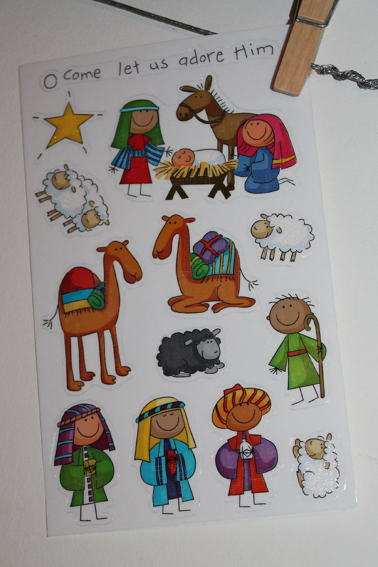 A christmas story ornament set - Christmas Story Nativity Scene Set Stickers Holy Family Baby Jesus Advent Kit For Blocks
