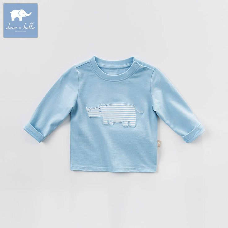 DBM7315 dave bella spring baby boys blue printed t-shirt boys handsome top children high quality tees //Price: $41.80 //     #baby