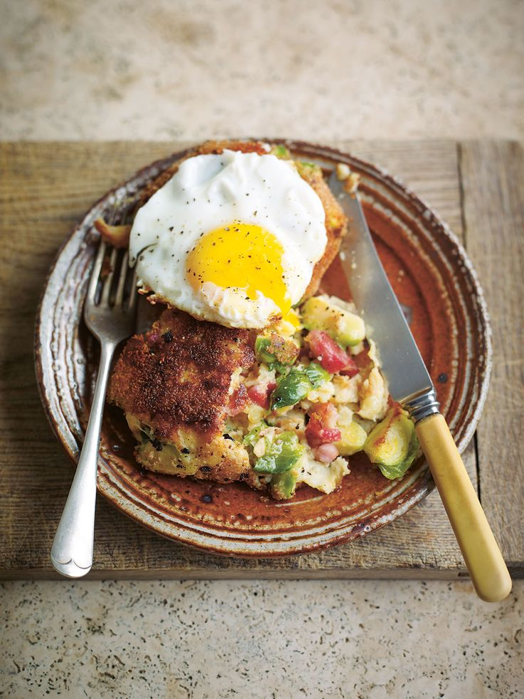 Parsnip, brussels sprout and bacon potato cakes. A great recipe to use ...
