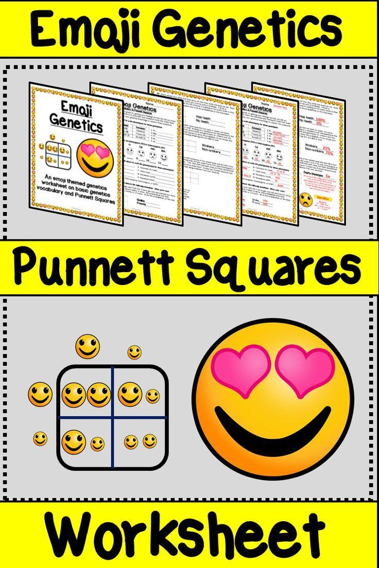 Emoji Punnett Square Worksheet Punnett Square Practice Activity Punnett Squares Elementary Science Activities Punnett Square Activity