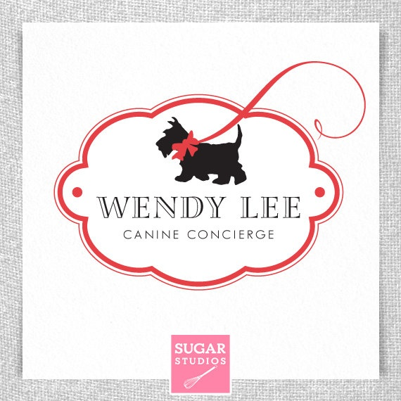 "Cute little dog walker logo! Love ""Canine Concierge"" :0)"