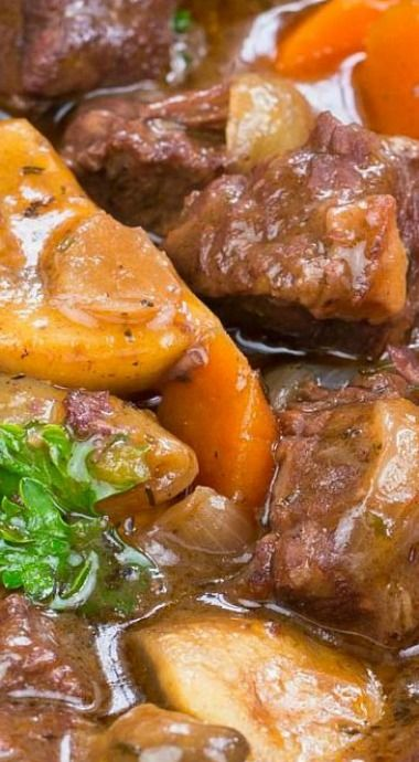 Beef Bourguignon Serves Up Fork Tender Beef, Carrots, Pearl Onions, And Mushrooms In An Amazing Tasting Red Wine Rich Aromatic Sauce.