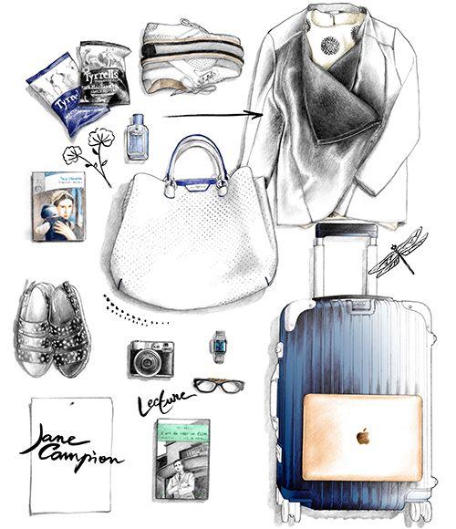 Illustration vêtements mode Jane Campion Figaro Madame Florence Gendre #illustration#sac#vêtement#chaussure