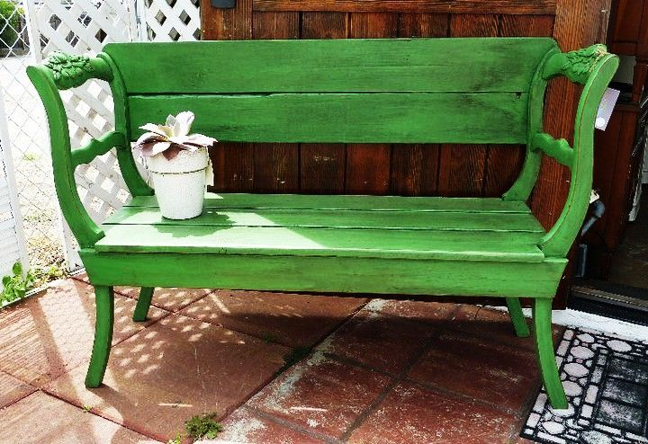 MAKANDJILL 5 ANTIBES GREEN GARDEN BENCH.JPG    Upcycled antique chairs repurposed as a garden bench, painted with CHALK PAINT® Antibes. www.MAKandJill.com