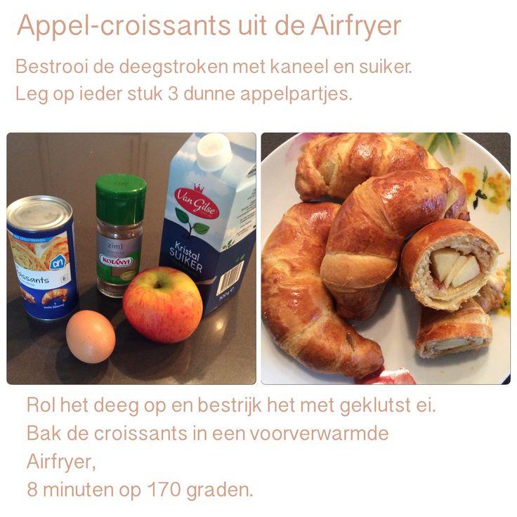 Appel-croissants uit de Airfryer. 8 minuten op 170 graden. AK