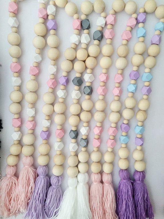 2 Tassels Wooden Garland by POMPOMSTYLE on Etsy