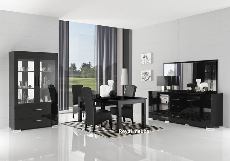 Woonkamer meubel Italiaanse Hoogglans zwart kristal
