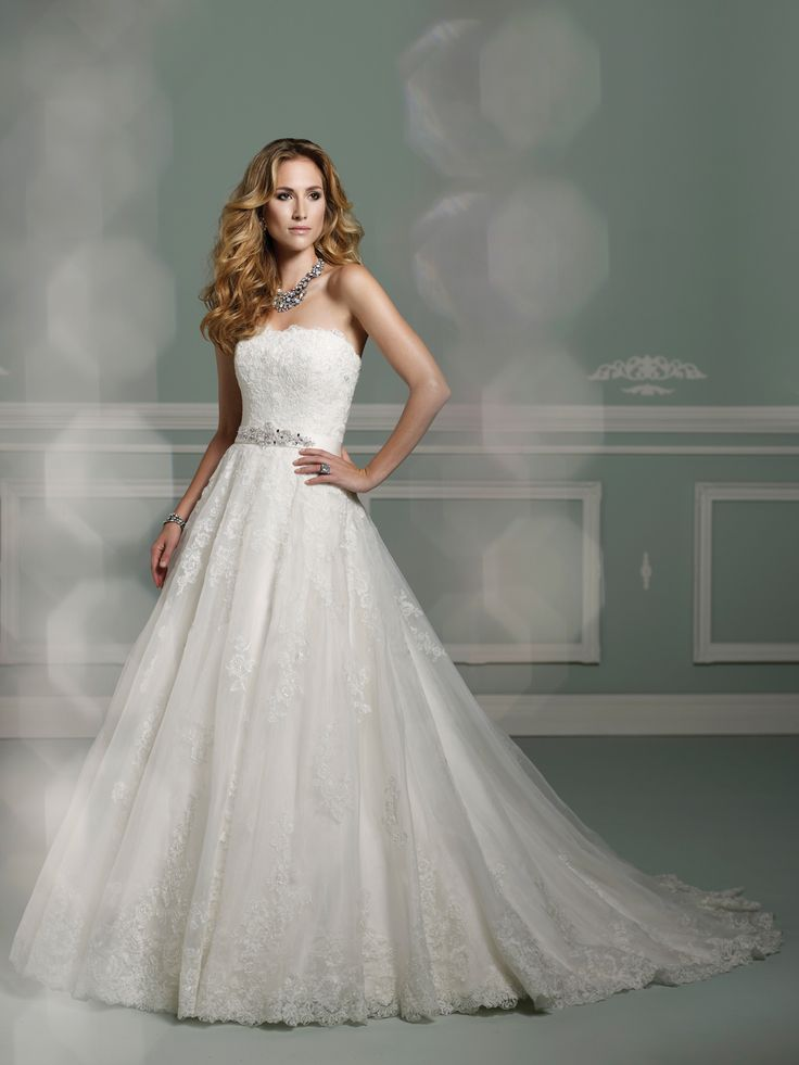 Spring 2013 James Clifford Collection strapless lace and organza ball gown #wedding dress with softly curved neckline