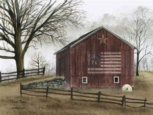 Country Primitive Americana Pictures | Flag Barn by Billy Jacobs Country Americana Primitive Folk... | Shop ...