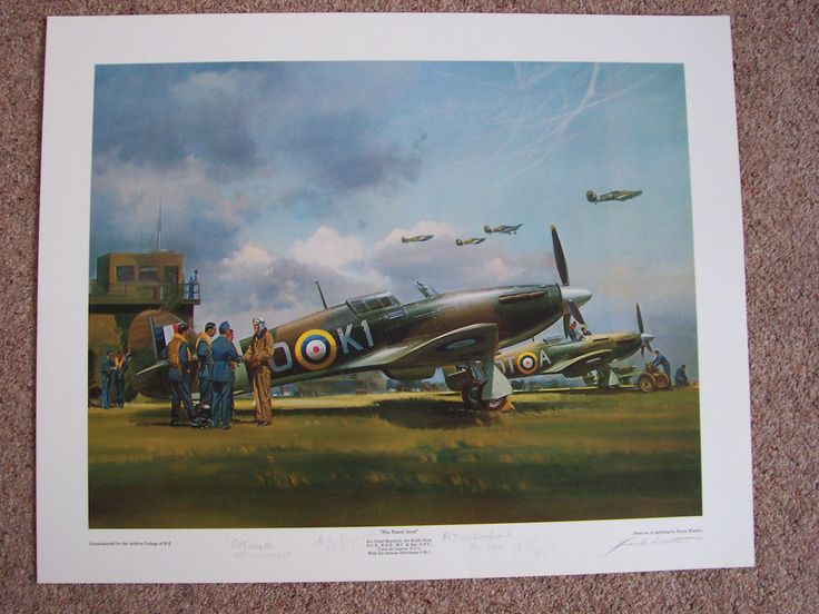 His Finest Hour By Frank Wootton. Sir Keith Park visits his pilots in his famous Hurricane OK 1.