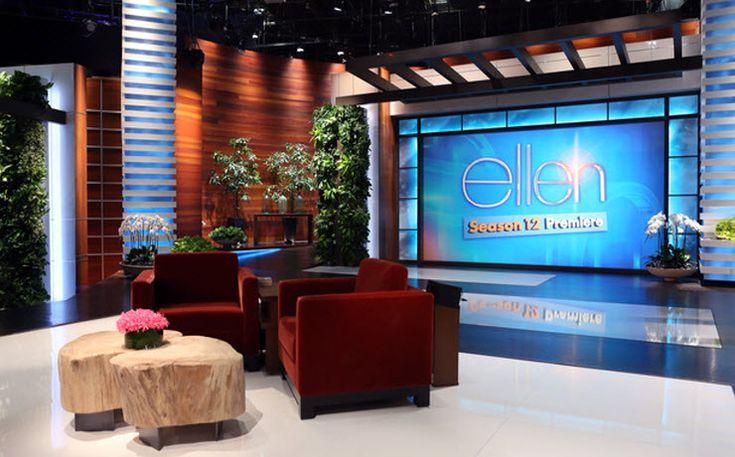 Ellen Degeneres talk show set blue and warm tone color scheme
