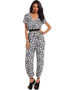 $69, White and Navy Print Jumpsuit: XOXO Short Sleeve Animal Print Jumpsuit. Sold by Macy's. Click for more info: http://lookastic.com/women/shop_items/76639/redirect
