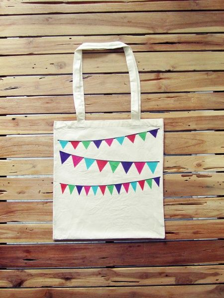 Jutebeutel Girlande, Flexdruck // tote bag with garland print via DaWanda.com