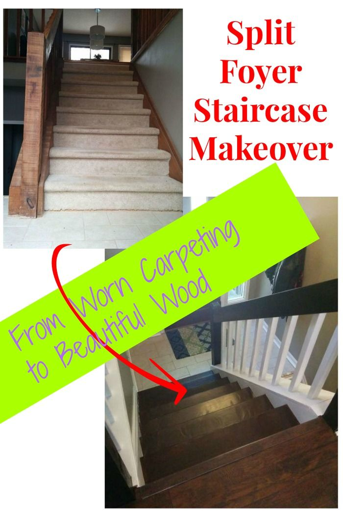 Split foyer staircase makeover ~ The carpeting was removed and the wood given a gorgeous new finish.  http://www.hometalk.com/l/MLN