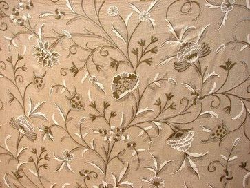 Crewel Fabric Tree of Life Neutrals on Beige Cotton Duck - craftsman - upholstery fabric - Crewel Fabric World