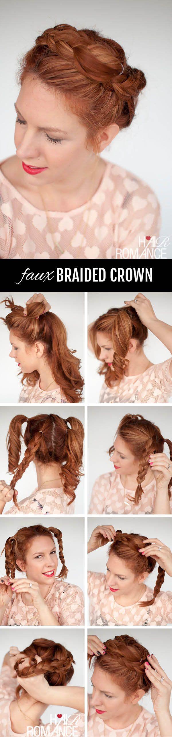 Braid cheat – faux braided crown hairstyle tutorial