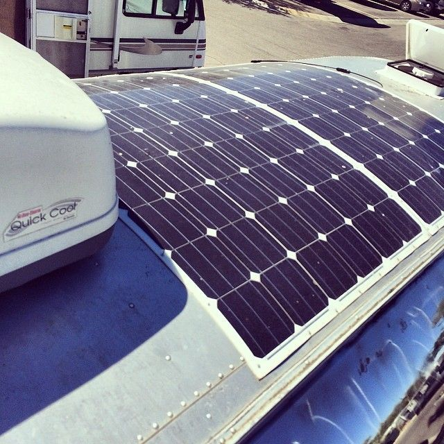 Here's a shot of my flexible solar pAnels from HighFlexSolar.com. 1000+ watts! ##solar #airstream #texh