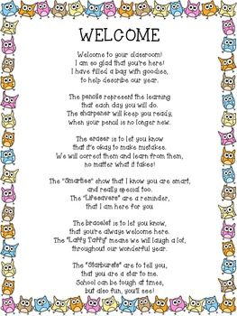 FREEBIE! Welcome Back Owl Poem for Back to School Goodie Bag