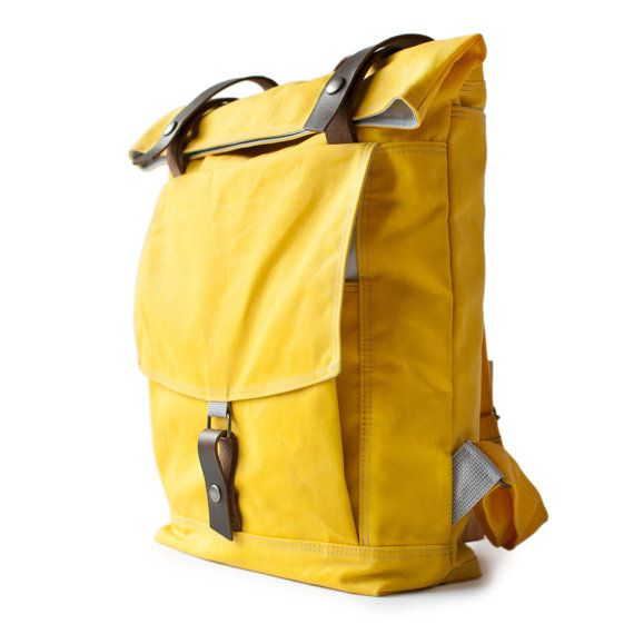 The Backpack in Yellow waxed canvas by moop