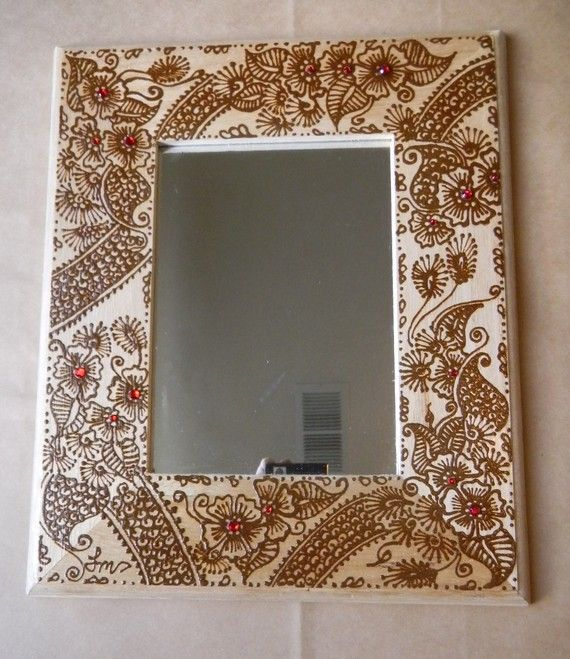 Mirror with Henna Art Unique Picture Frame with by mehndiart09, $50.00