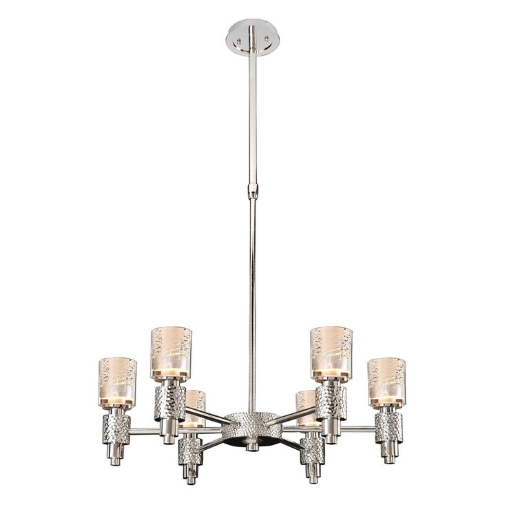 Kalco lighting ashington 6 light chandelier in polished satin nickel photo