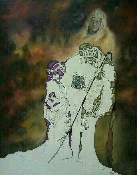 Oil painting by Jesús Ojeda. Catatsis. (140x120 cm) year 2013