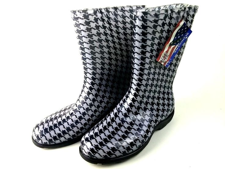 NEW Sloggers Women's Sloggers Waterproof Rain Boots BLACK WHITE SZ 10 FREE SHIP  #Sloggers #Rainboots