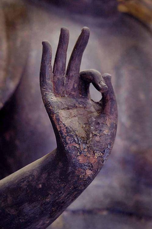 Abhaya Mudra: Protección, Tranquilidad, Bendición Abhaya en sánscrito significa intrepidez. Así, este mudra simboliza la protección, la paz y la disipación del miedo. Se hace con la mano derecha levantada a la altura del hombro, el brazo torcido, la palma de la mano mirando hacia fuera, y los dedos en posición vertical y unido. La mano izquierda cuelga hacia abajo en el lado del cuerpo.