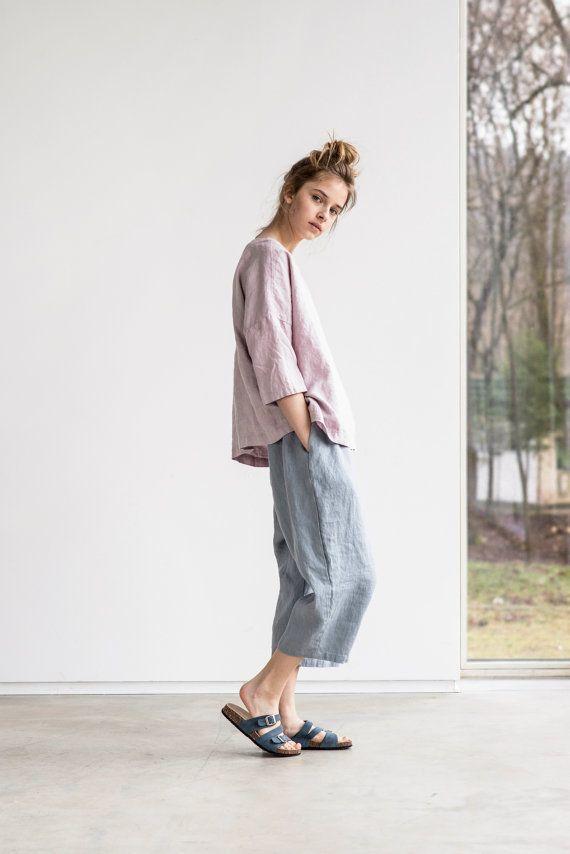 Light elephant grey loose linen pants with deep by notPERFECTLINEN