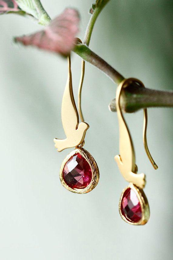 SINGING BIRDS earrings  ruby red crystal  cute by LakooDesigns