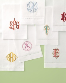 Monograms may have first appeared on ancient coins, but today they still have currency. Whether you're keeping your name, taking his, or doing a little of both, consider these ways to proudly display your insignia at home.: Envelopes, Teas Towels, Monograms Napkins, Monograms Linens, Hands Towels, Gifts Idea, Guest Towels, Martha Stewart Weddings, Embroidery Monograms