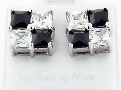 This is a beautiful square shape 925 sterling silver black and white CZ earrings.