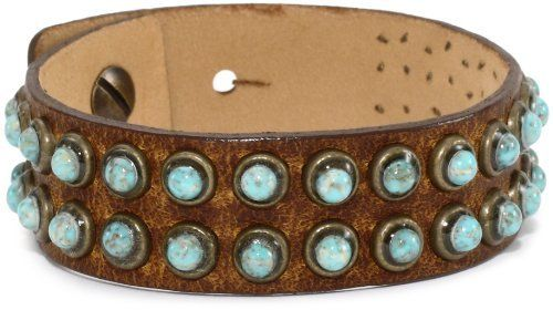 Streets Ahead Double Row Turquoise Matrix Studs Brown Leather Cuff Bracelet Streets Ahead. $48.00. Items that are handmade may vary in size, shape and color. Made in United States