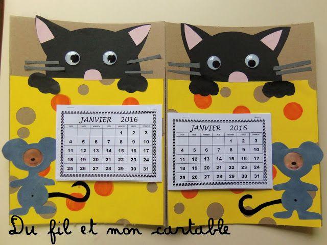 Du fil et mon cartable : Calendrier Chat Souris