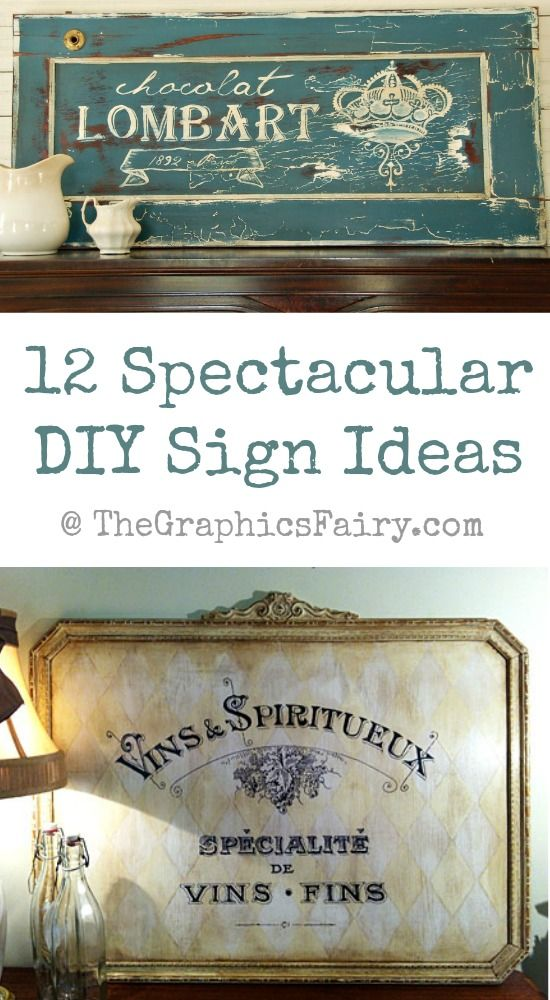 12 DIY Painted Sign Ideas with vintage graphic transfers! These would make great photo props.