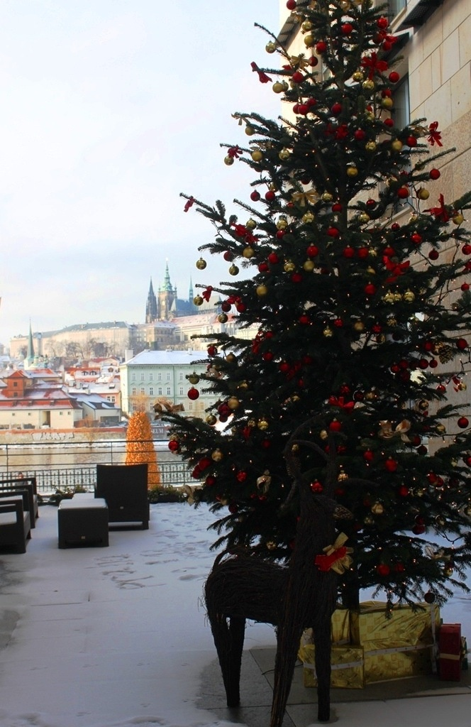 A tree with a view! @Four Seasons Hotel Prague's outdoor Christmas tree overlooks the scenic city below. #HowToHoliday
