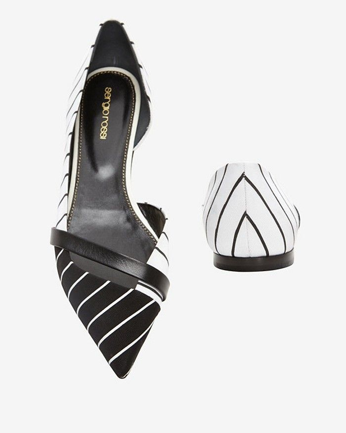 Sergio Rossi D'Orsay Ballet Flats in black and white