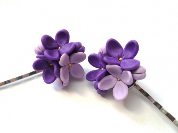 Flori de Liliac Agrafe: De Liliac, Liliac Agrafe, Polymer Clay, Flowers