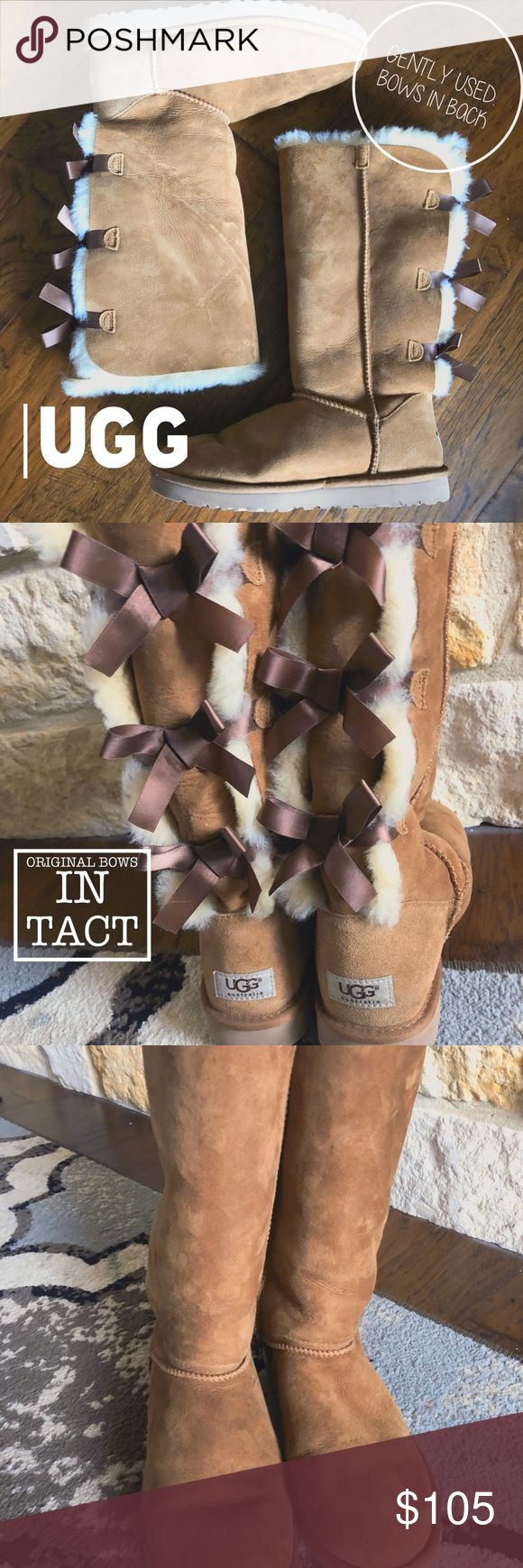 Gently Used Chestnut Ugg Bailey Bow Tall Boots Gently Used! Minimal wear. Original bows in tact.   ✅Offers always welcomed! 💰Bundles get an extra discount! 🔜Ships promptly next postal day! 📦Always packed neatly!  🙅🏻‍♀️No trades or lowballing please! UGG Shoes Winter & Rain Boots