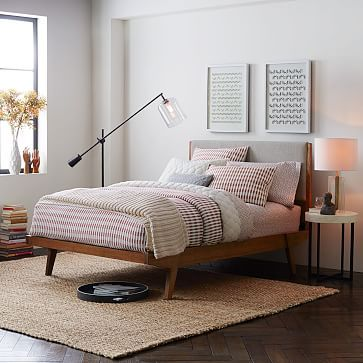 "Modern Bed Set #westelm Claims to have 12"" clearance! and ships in 2-4 wks Queen: 64.3""w x 83.5""d x 45.2""h. F/Q/K sizes include 3 middle support legs. Clearance: 12"""