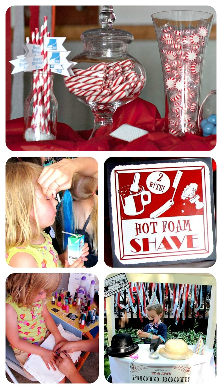 Combo boy & girl birthday party idea - BEAUTY | BARBER SHOP! Good for kids bdays that are close together :).