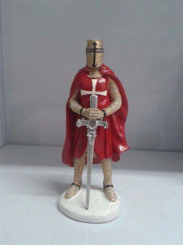 Guerreiro Templario Cavaleiro Medieval Estatueta Resina