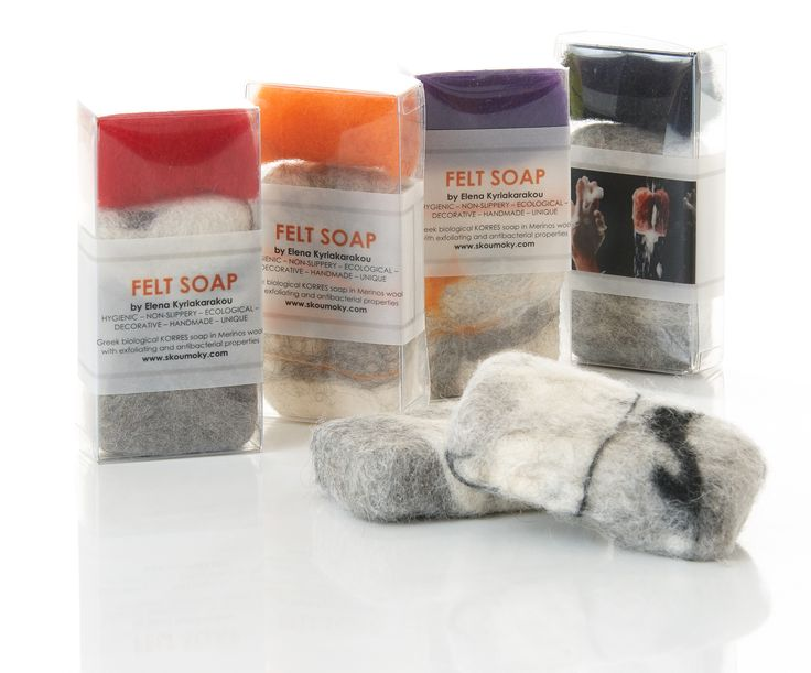 Felt soaps in transparent box. KORRES Biological soap bar. Felting technique. By Elena Kyriakarakou.