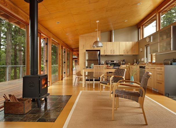 cabinet contrast with ceiling The Seattle Times: Replinger Hossner Osolin builds contemporary cabin for shade and sun