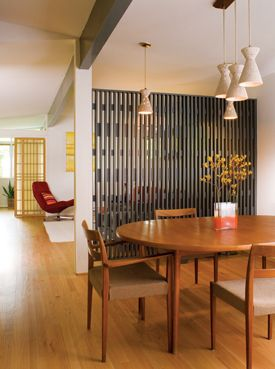Use our Korean screen, permanently suspended,  to divide the dining area from the living area...?