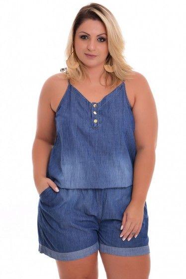 Macaquinho Plus Size Jeans Xtra