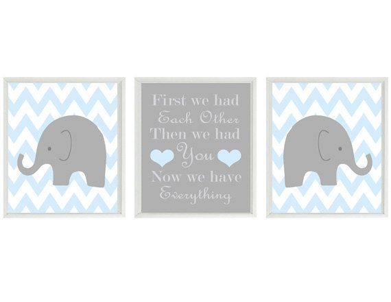 Elephant Nursery Art Print Set  - Chevron Baby Blue Gray Decor - First We Had Each Other Quote - Modern Baby Boy Room - Wall Art Home Decor on Etsy, $42.00