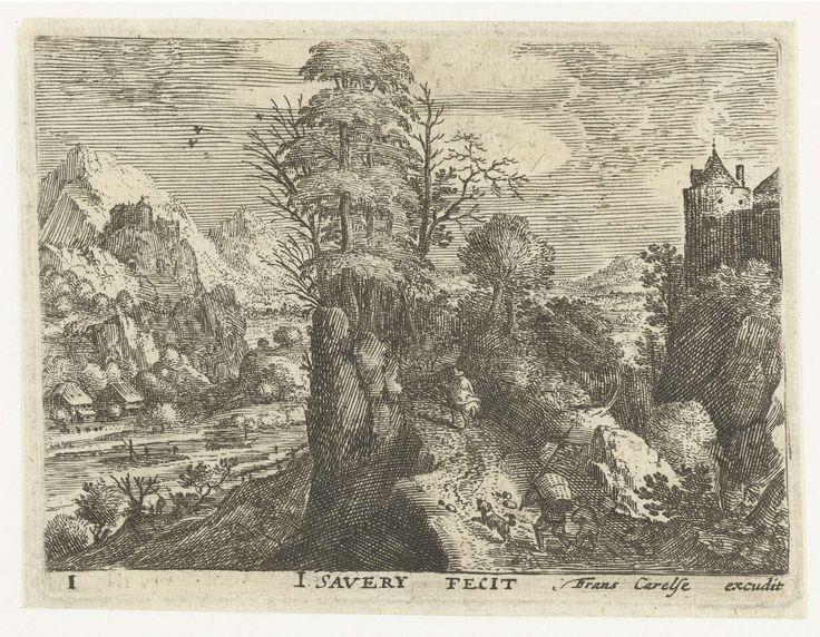 Jacob Savery (I) | Landschap met reizigers op steile rots, Jacob Savery (I), Frans Carelse, 1584 - 1603 | In een bergachtig landschap lopen twee reizigers (een man met een mand op zijn rug en een jongen) met een hond een steil pad op, achter twee ruiters aan. Links een rivier, rechts de toren van een kasteel. Deze prent is onderdeel van een serie van zes landschappen met reizigers.
